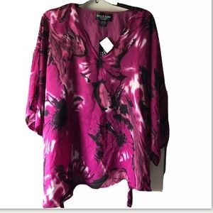 New Russell Kemp Flowy Berry Floral Blouse 3x